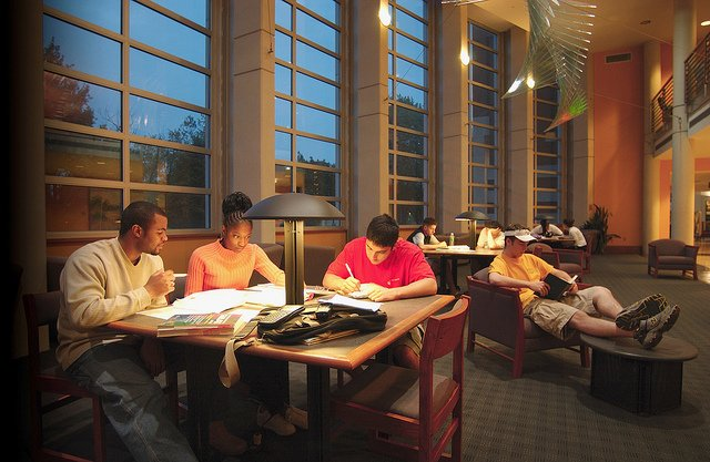 students study at tables in the library in early evening
