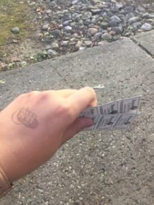 Hand stamp for free giveaways at Homecoming block party.