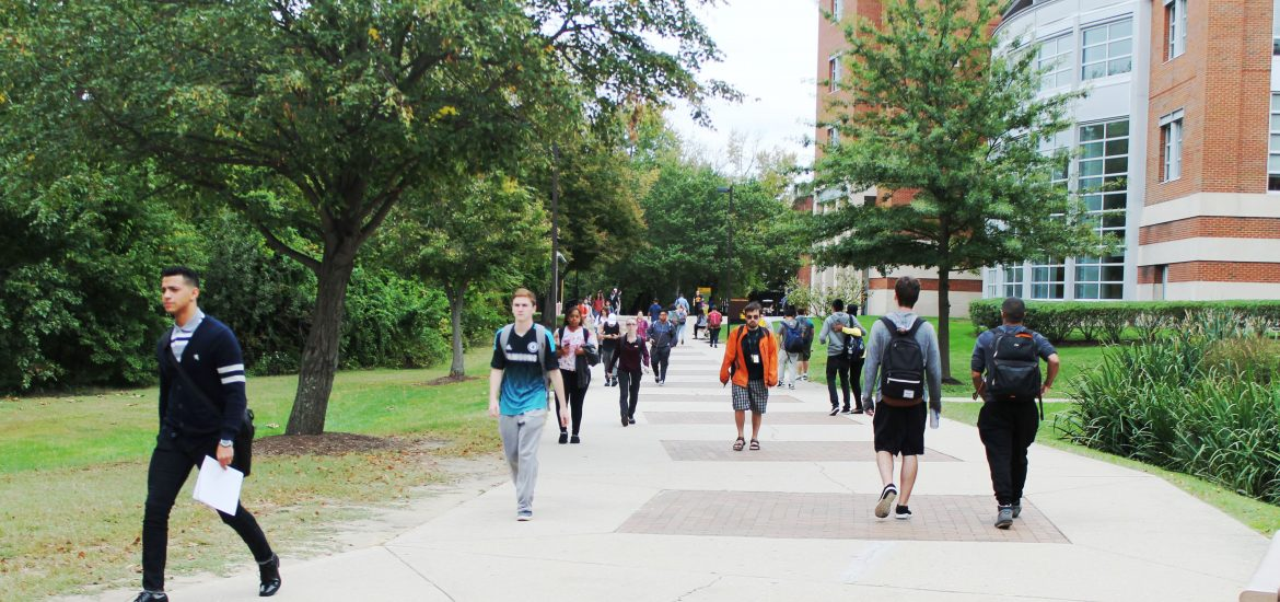 students walk through the middle of campus on a wide sidewalk