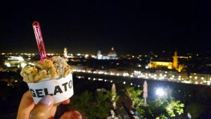 Italian gelato on the panorama of Florence, Italy