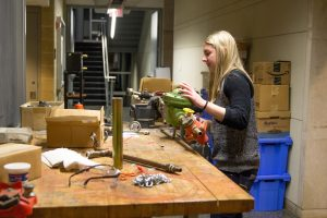 biomedical engineering student Haley Schappell works in the engineering lab