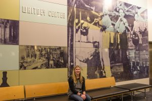 biomedical engineering student sits in Whitney Center