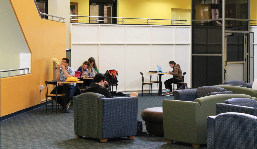 Students studying in the Rowan Student Center