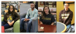 four scholarship winners sit