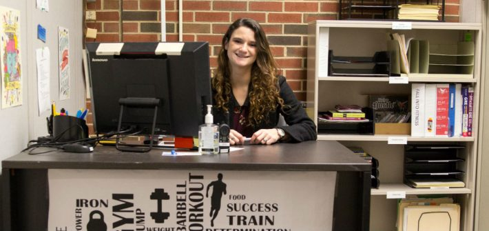 Nicole Wyglendowski working as a supervisor at the Rowan's Rec Center