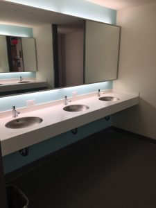 line of sinks in all gender bathroom in Holly Pointe