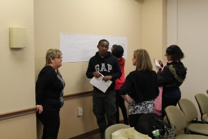 Student ask staff members about financial aid