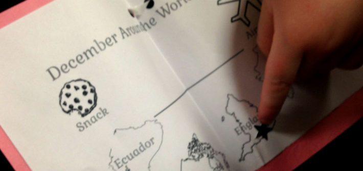 paper passport at December Around the World pajama party