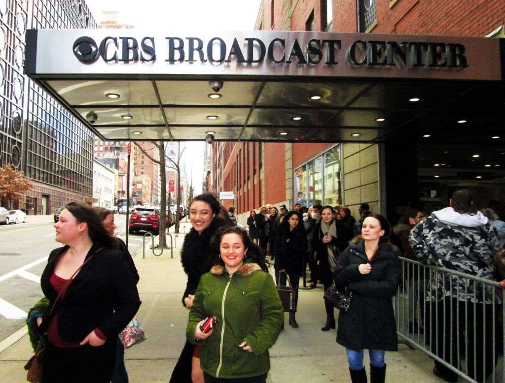 students stand outside the CBS Broadcast Center in NYC