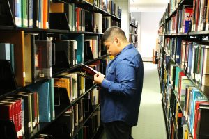 Arthur Bautista international student from Rowan is studying at the Campbell Library