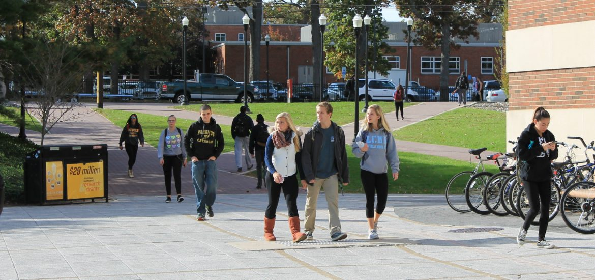 Students walking around campus