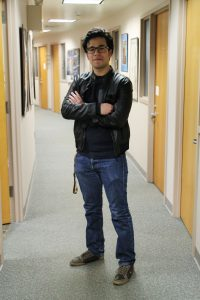 Rowan RTF Student Frank Villarreal is in the RTF Department's Office