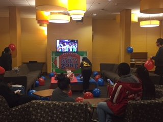 Mimosa lounge as residents watch the Super Bowl