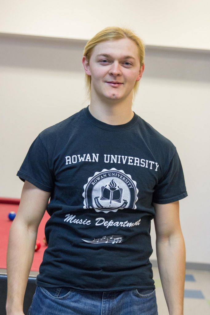 Steve wearing a Rowan music department tshirt