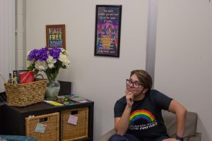 student in LGBTQ office