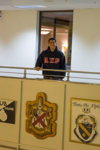 student in fraternity letters