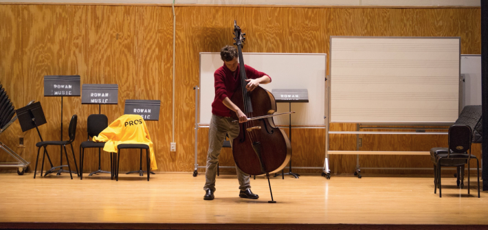 student performs in recital hall