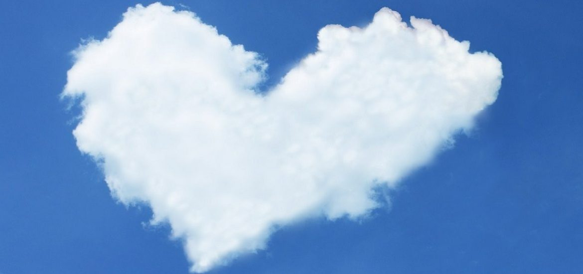 cloud in shape of a heart in a blue sky