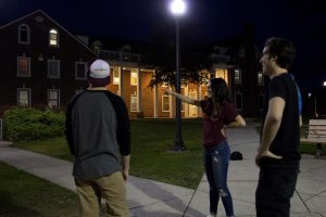 students outside in courtyard