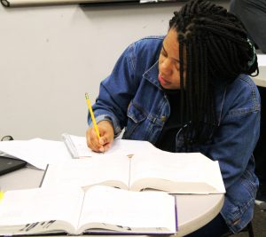 A student is studying at Rowan Tutoring Center