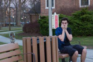 student in laurel oak courtyard
