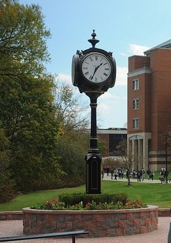 Rowan clock in center of campus