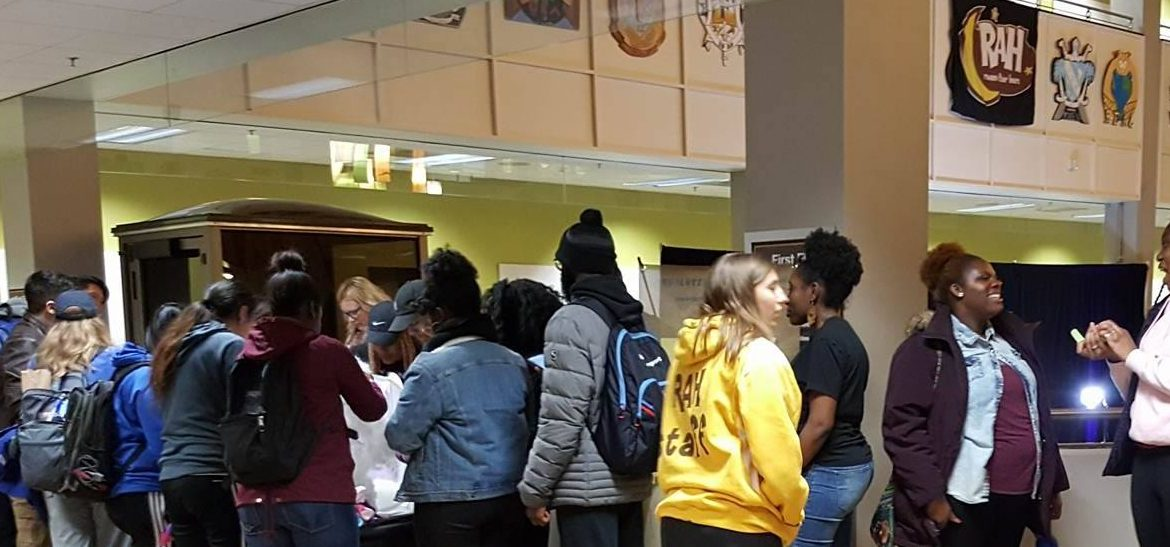 students in line at RAH event in the student center