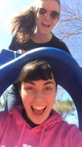 Brianna and Kelly get silly at a park