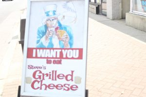 Steves grilled cheese sign