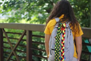 bookbag with braids