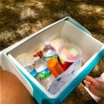 Cooler full of water and food