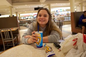 My roommate, Katherine, enjoying an Auntie Anne's soft pretzel and lemonade.