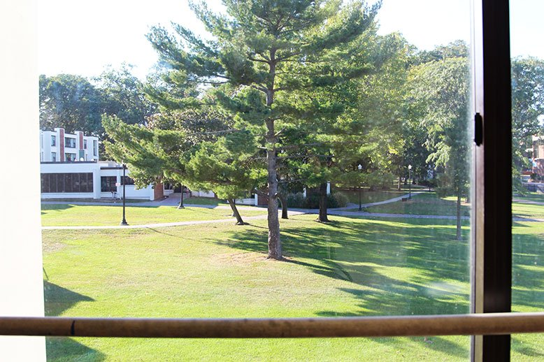 The view from Mullica Hall's windows includes many, many trees.