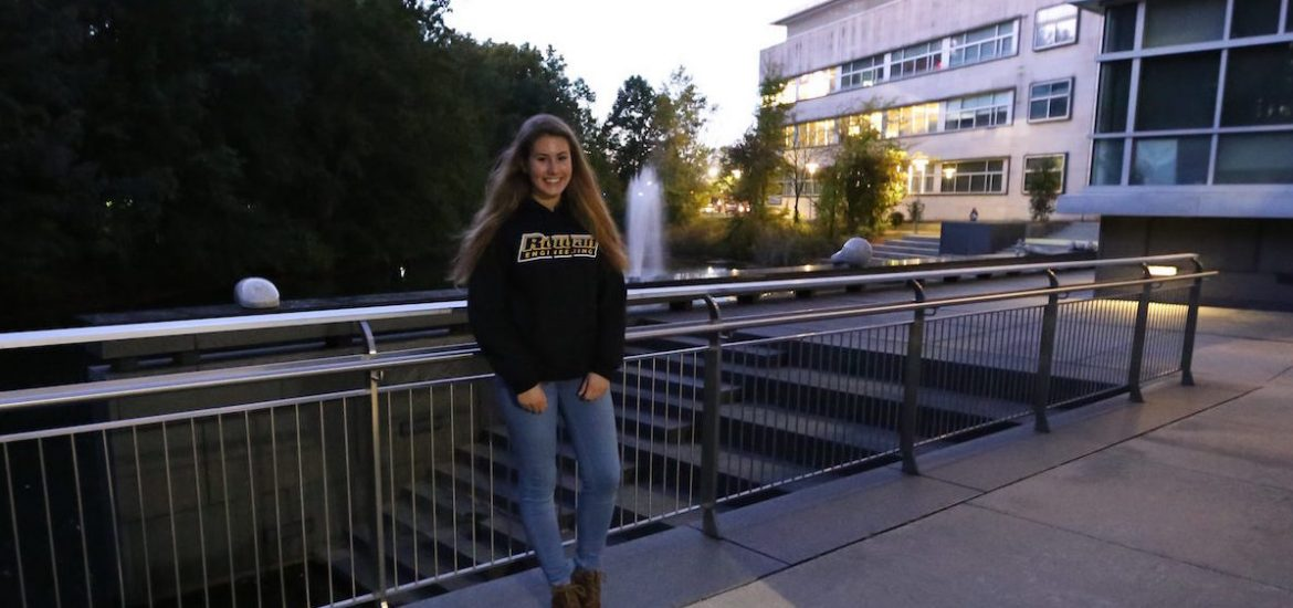 Alexa standing outside of Engineering building