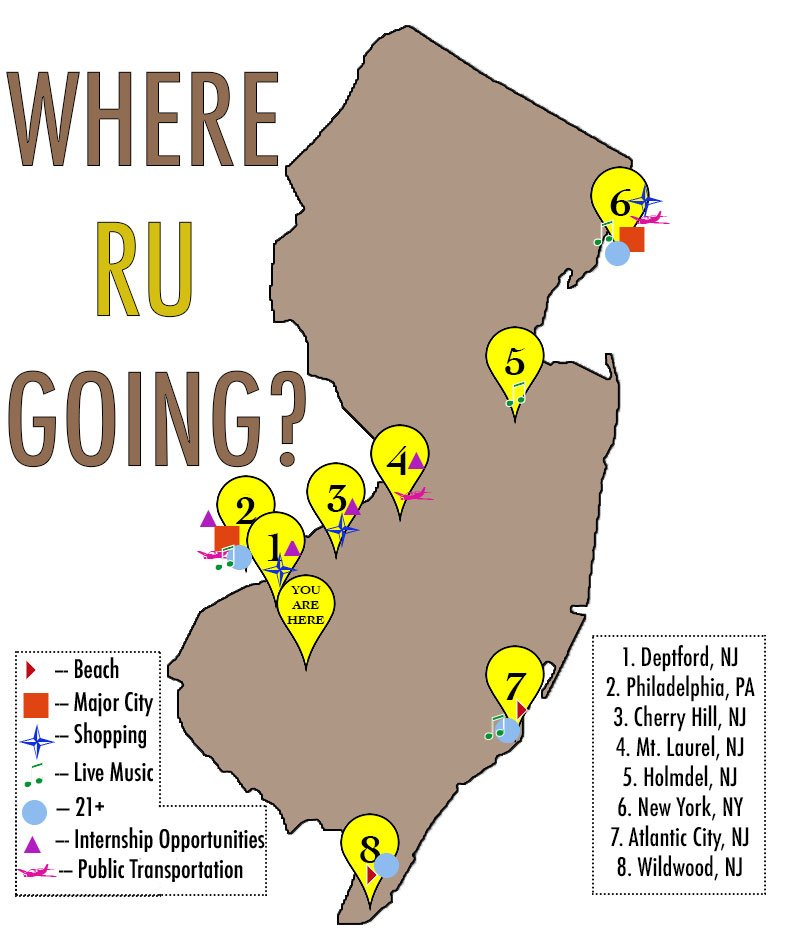 An infographic of points of interest around Rowan and throughout New Jersey.