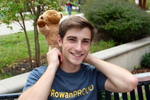 Brian and his bear made from a RAH event at Rowan University