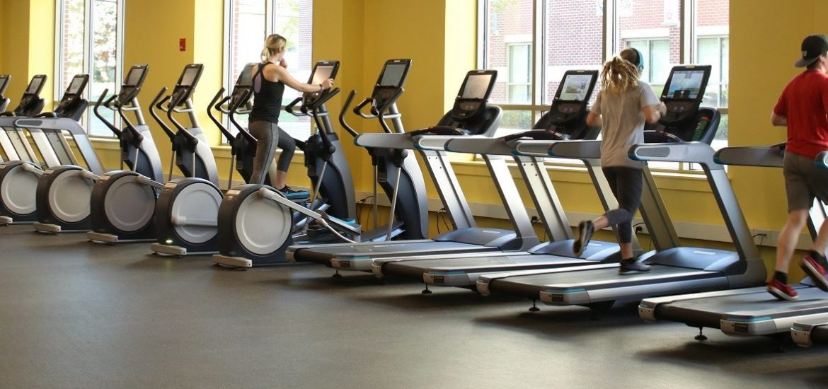 students work out on treadmills in the new Rowan Fitness Center