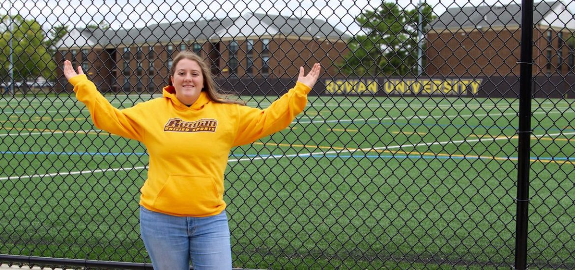 Maribeth outside the Rowan field