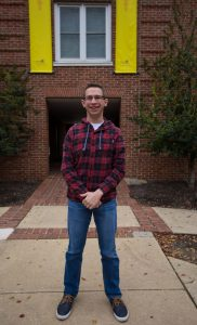 Rowan student Kevin standing outside Willow Hall