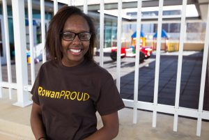 elementary education major Destiny in #ROWANproud shirt outside James Hall at Rowan University