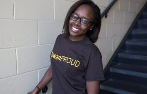 Rowan student Destiny in #ROWANproud teeshirt inside education building James Hall
