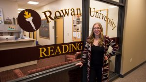 Rowan education student inside James Hall at reading clinic on campus