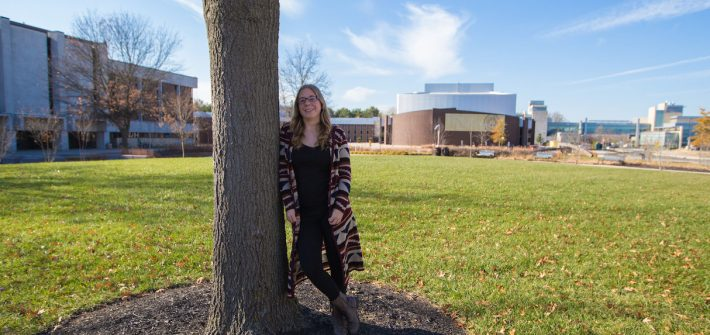 Education major Melissa outside of Robinson Circle at Rowan University campus