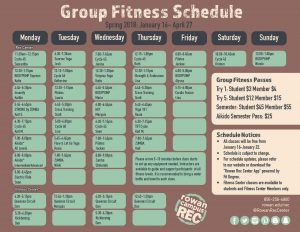 Rowan University Fitness Schedule for group classes