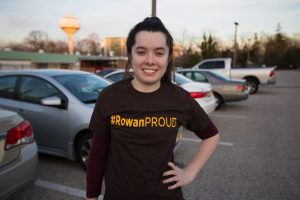 Jen in #ROWANproud tee shirt in commuter parking lot at rowan
