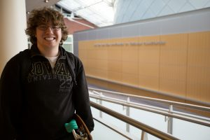 Jeremy inside Science Hall at Rowan University