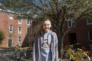 Magnolia Hall resident loves the courtyard at Rowan University
