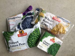 Four bags of shoprite frozen veggies