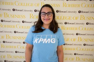 Danielle inside business building at rowan university