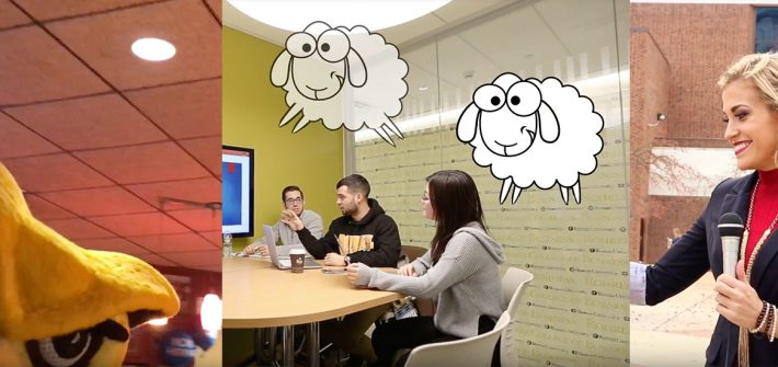 A three photo college featuring the Rowan Mascot, students in the business building, and a student reporter